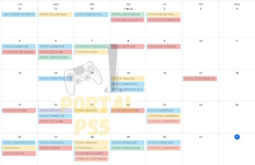 Calendario STOCK PS5