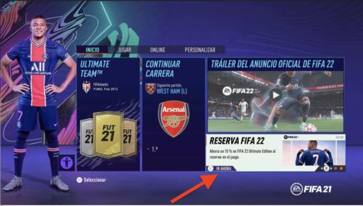 RESERVA FIFA 22 DESDE FIFA 21